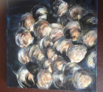 art painting group of seashells