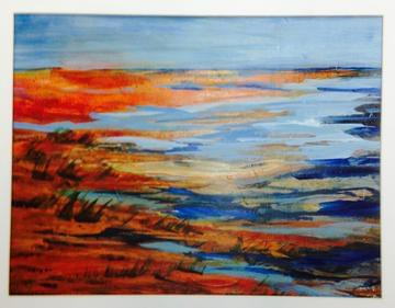 art painting salt marsh with colors of brown and blue