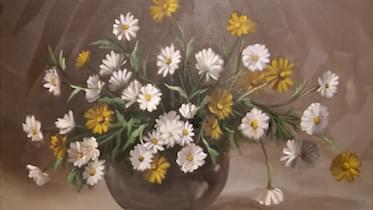 painting of dandelions some with yellow buds and some with white buds