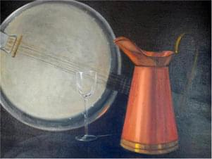 painting of wine glass, plate and carafe