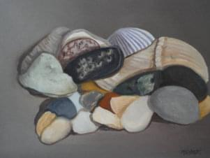 painting of sea shell assortment