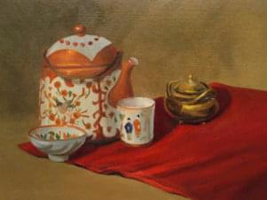 painting of tea set on a red blanket