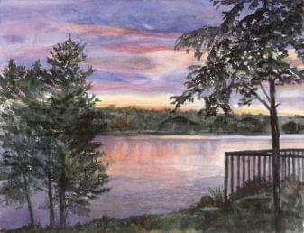 art painting of sunset on lake with trees in foreground