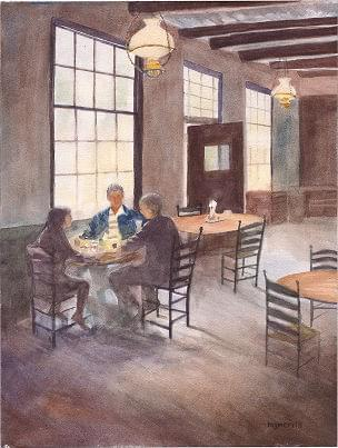 art painting of coffee shop with family sitting enjoying coffee