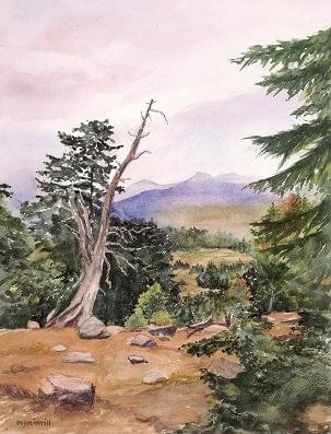 art painting of dead tree in forest with mountains in the background