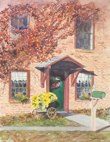 art painting brick house green mailbox yellow flowers