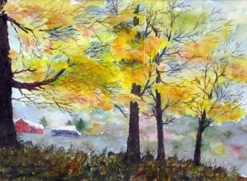 art painting golden leaves on trees