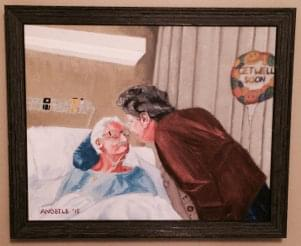 art painting of husband and wife last kiss hospital bed