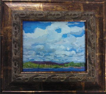art painting blue sky with clouds