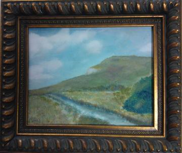 art painting lone road in a valley