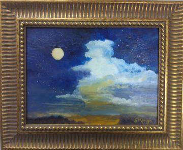 art painting blue sky at dusk with moon