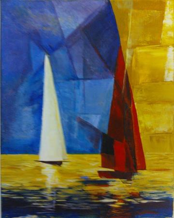art painting sailboats with red and white masts