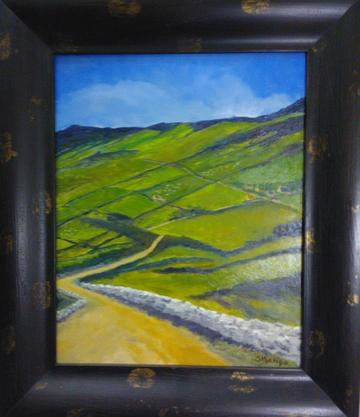 art painting yellow road in a valley of green fields