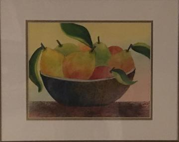 art painting pears in a bowl