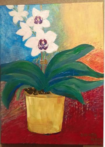 art painting white orchids