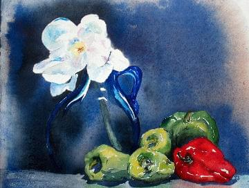 art painting begonias and peppers