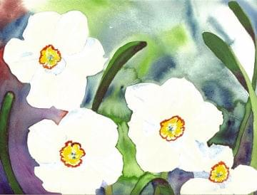 art painting white flowers