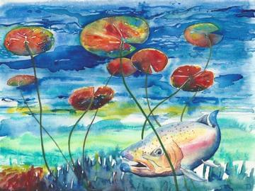 art painting salmon in water with lily pads