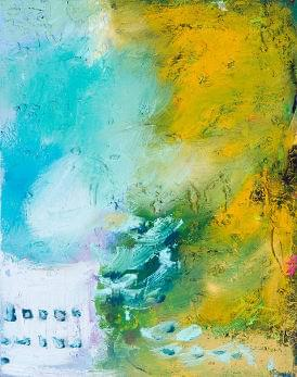 art painting abstract with light blue and dark yellow colors