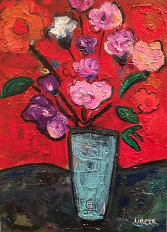 art painting of white, purple and pink carnations in vase