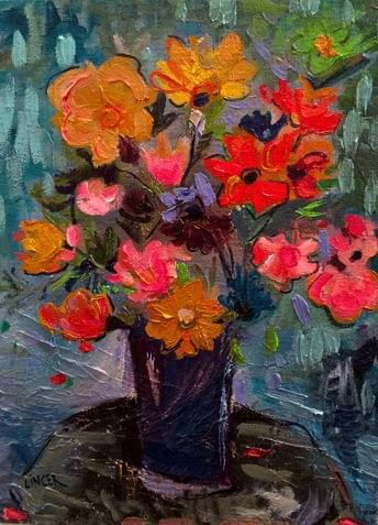 art painting of orange, pink and red roses in vase