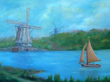 art painting sail board on river with two big windmills