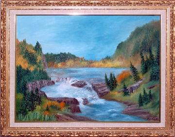 art painting of falls at hadley falls new york