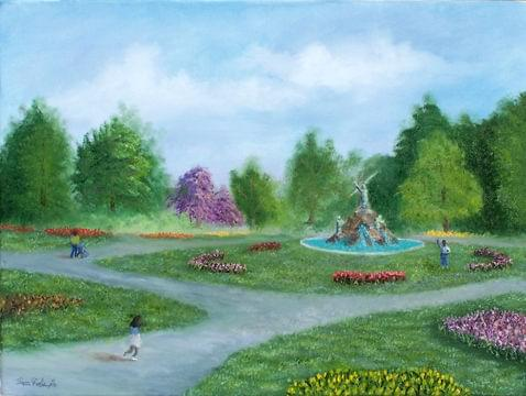 art painting of washington park in albany new york