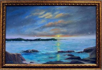 art painting of a sunset over blue sea showing a few rocks