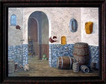 art painting of barrels in the corner of a room with stone wainscotting