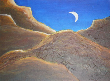 art painting moon glow in sky with rolling desert hills