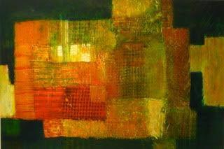 art painting abstract green orange and yellow