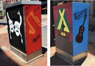 All four sides of finished electrical box that was painted with theater faces, saxophone and trumpet, ukulele and performer on stage with lights